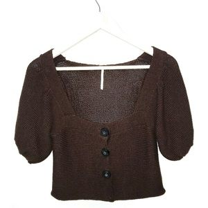 Free People Brown Chunky Knit Cropped Sweater